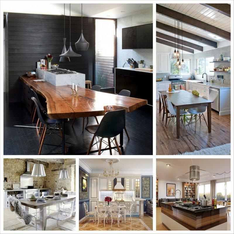 Оригинальный дизайн кухни-столовой