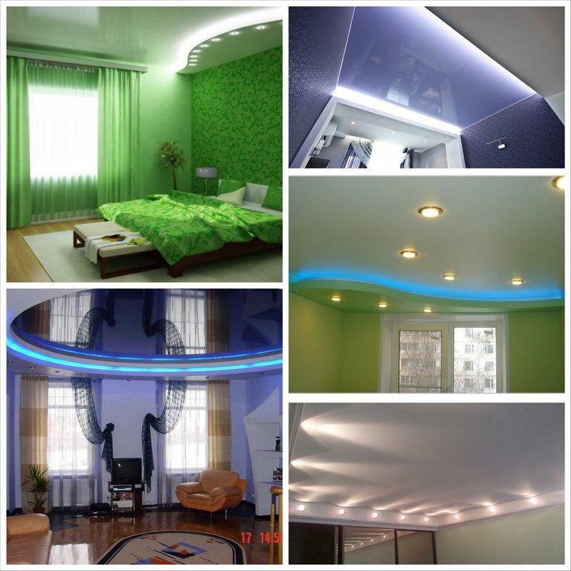 Натяжные потолки с подсветкой - правила ухода
