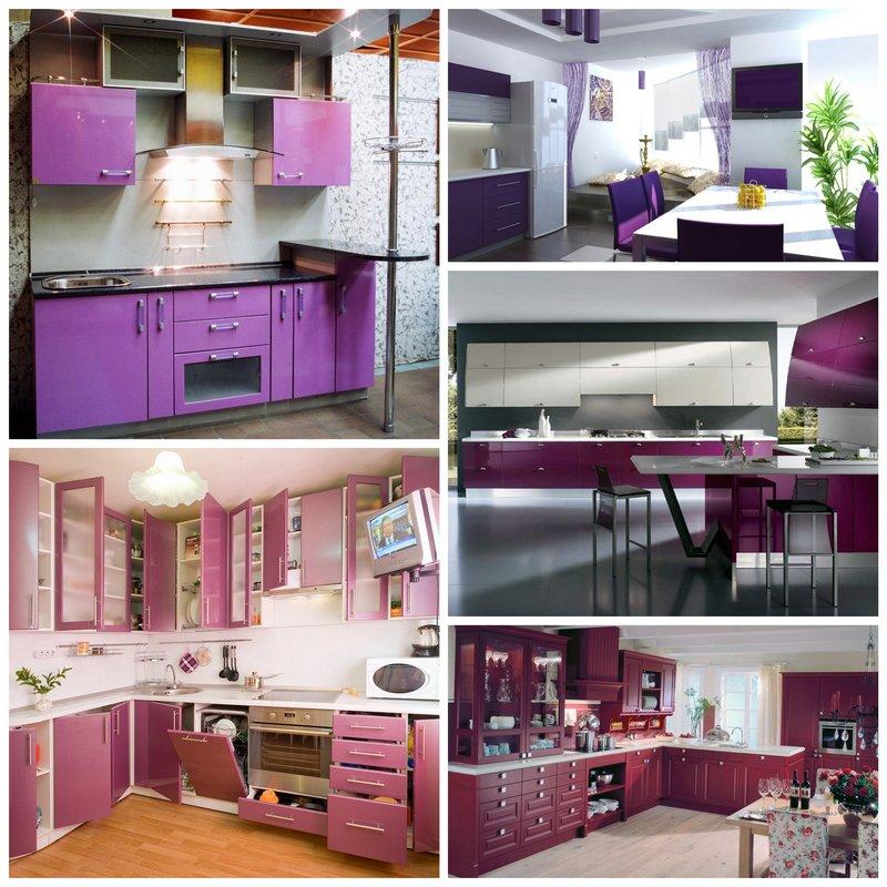 Оригинальная кухня в фиолетовых оттенках