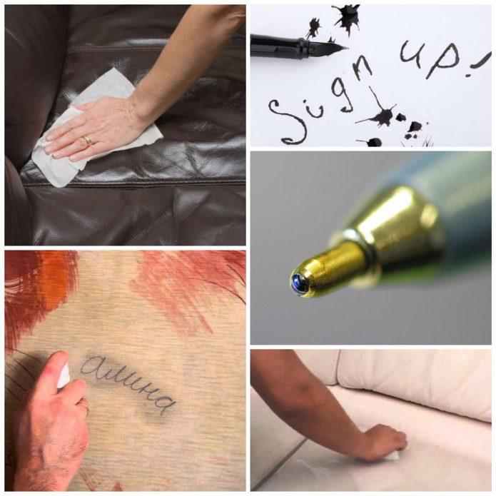 Как убрать следы от шариковой ручки на кожаной мебели?