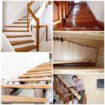 Монтаж деревянной лестницы между этажами