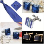 Синие запонки квадратной формы