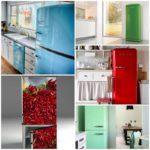 Яркие холодильники в дизайне кухни