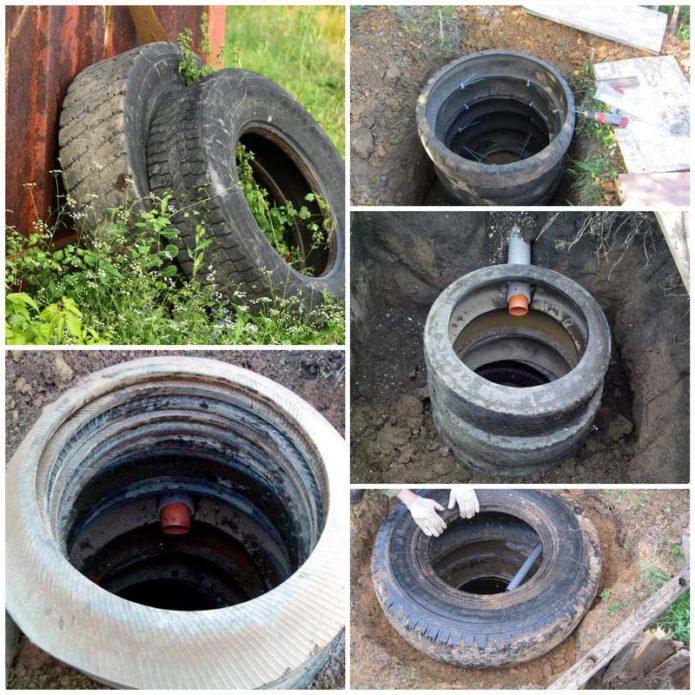 Как установить частную канализацию при помощи автомобильных покрышек?
